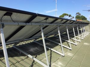 behind solar panels cables fixed